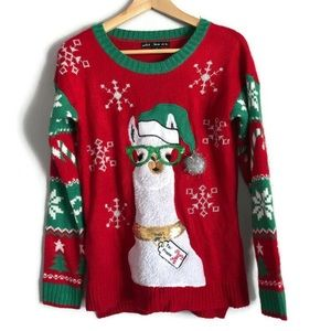 Llama Ugly 3D Christmas Sweater Size Small